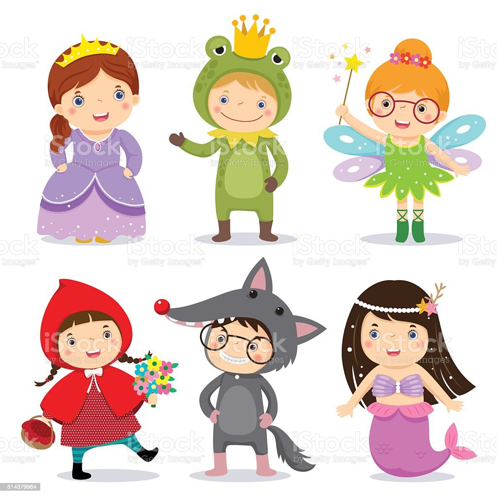 Set of kids wearing in fairy tale theme vector art illustration