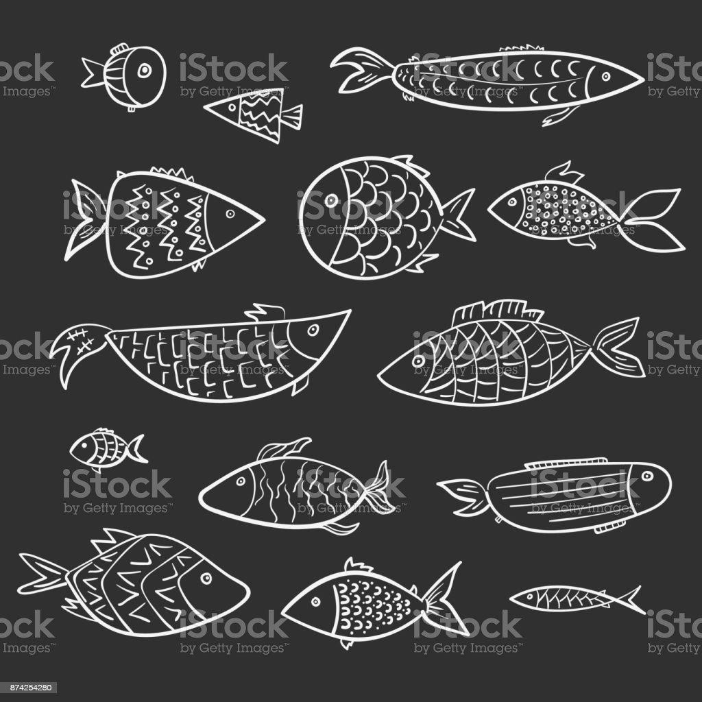 Set of kids white cartoon vector outline fishes vector art illustration