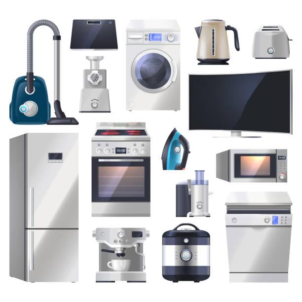 set von küchengerät, elektronik für zu hause - haushaltsmaschine stock-grafiken, -clipart, -cartoons und -symbole