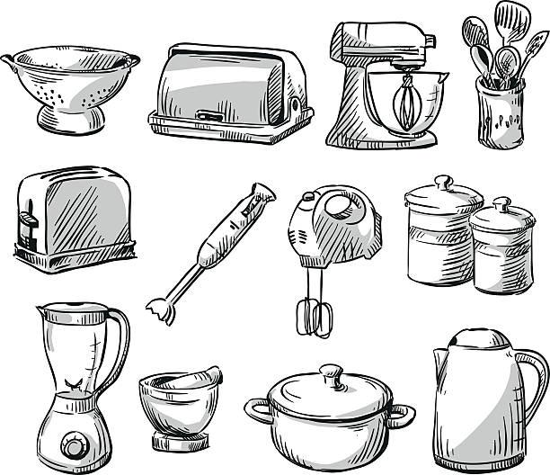 set of kitchen geräte. household utensilien. hand drawn. vektor-illustraton. - küchenmixer stock-grafiken, -clipart, -cartoons und -symbole