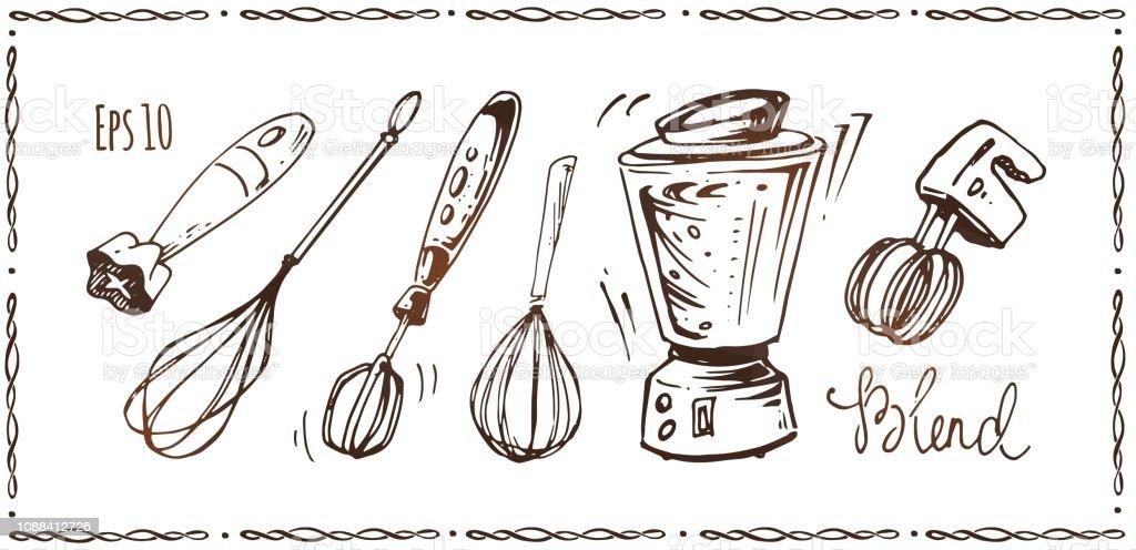 Set Of Kitchen Appliances Hand Drawn Sketches Of Whisk Mixer