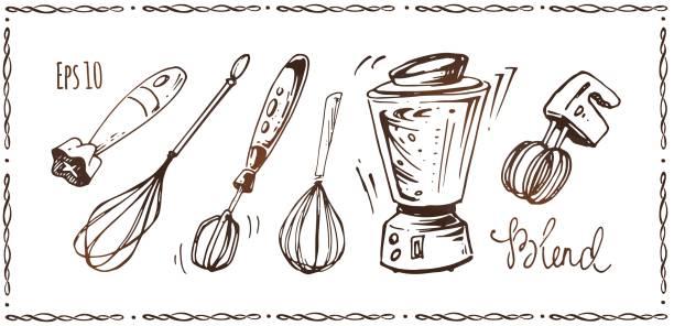 satz von küchengeräten. handgezeichnete skizzen der quirl, mixer und blender isoliert auf weißem hintergrund. vektor-illustrationen - küchenmixer stock-grafiken, -clipart, -cartoons und -symbole