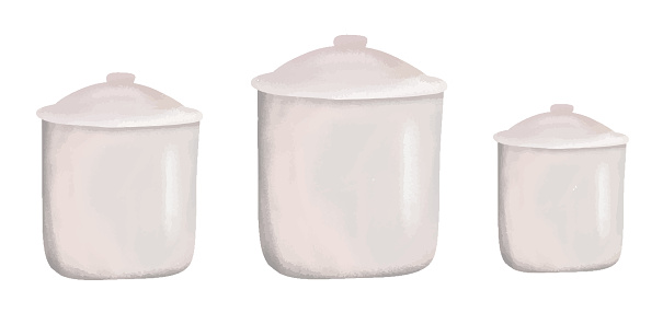 Set of kitchen containers, cooking, bulk food storage cans, kitchen utensils collection, modern flat style, vector illustrations, texture drawings, pink shades, isolated on a white background