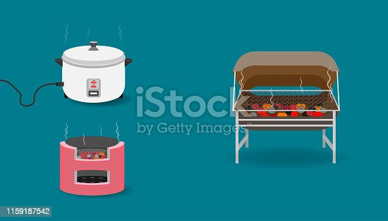 set of kitchen equipment with tank toaster charcoal rice cooker. vector illustration eps10