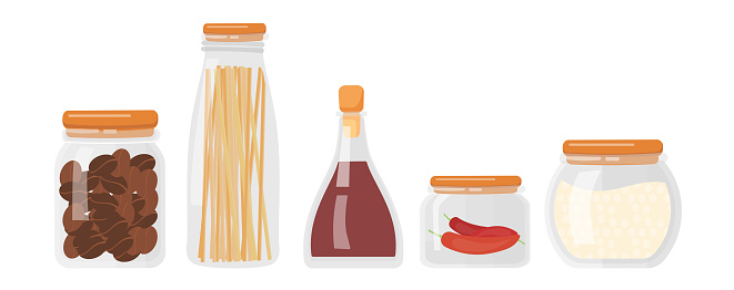 Set of kitchen food storage containers with pasta, flour, coffee beans, peas and hot peppers on white background