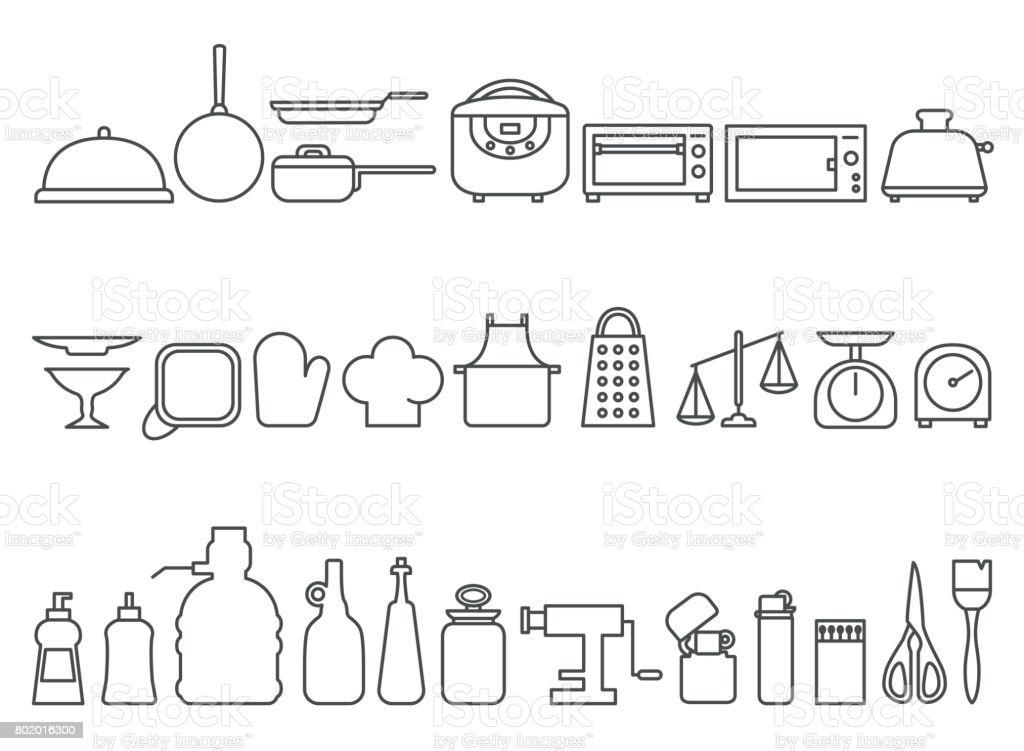 Set of kitchen icons vector art illustration