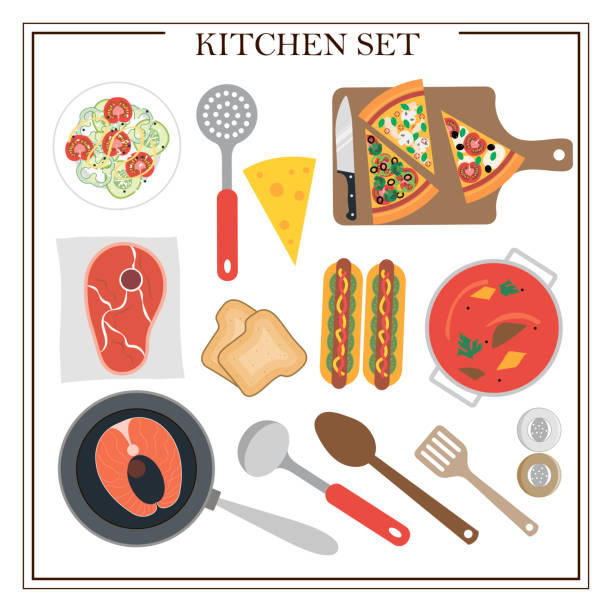 ilustrações de stock, clip art, desenhos animados e ícones de set of kitchen items and dishes for dinner. vector illustration of a dining table with soup, hot dogs, salad, pizza, fish, meat, juice and appliances. wooden table with tablecloth, flowers and serving. - kitchen counter