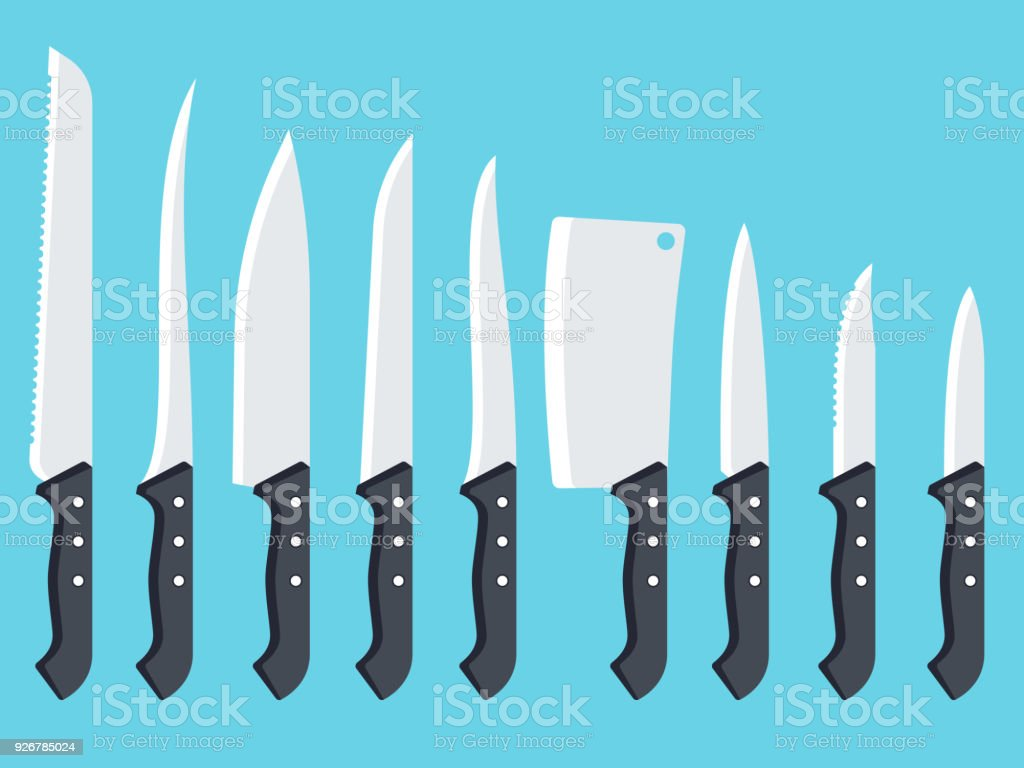 Set Of Kitchen Knives Stock Vector Art & More Images of Beef ...