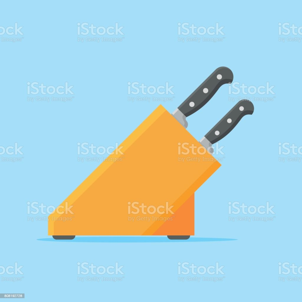 Set of kitchen knives with wooden stand. Flat style vector illustration. vector art illustration