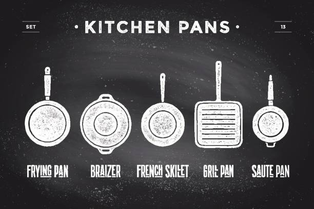 Set of kitchen pans. Poster Kitchenware - Pans, grill, pot Set of kitchen pans. Poster Kitchenware - Pans, grill, pot. Vintage typographic hand-drawn pans silhouette on black chalkboard for restaurant menu, graphic design. Food theme. Vector Illustration frying pan stock illustrations