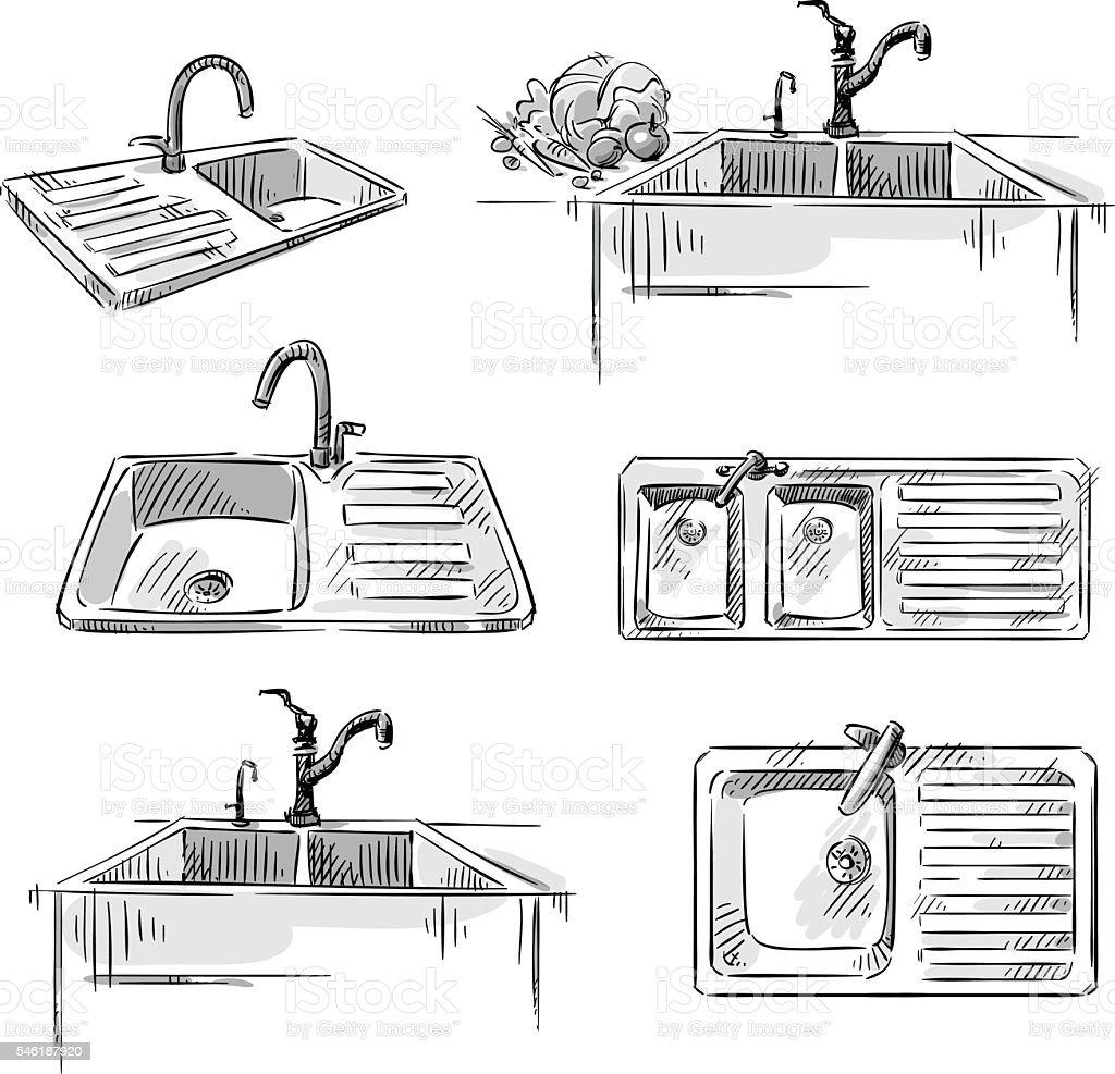 Set of kitchen sinks. Hand drawn vector illustration. vector art illustration