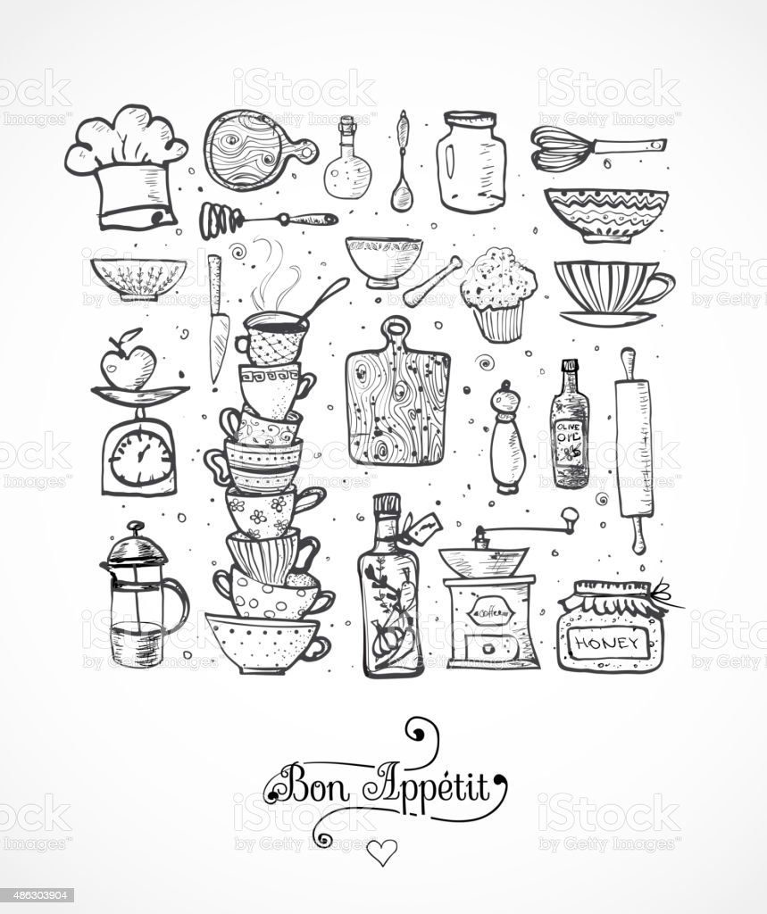 Juego de utensilios de cocina de dibujo en blanco arte for Juego utensilios cocina