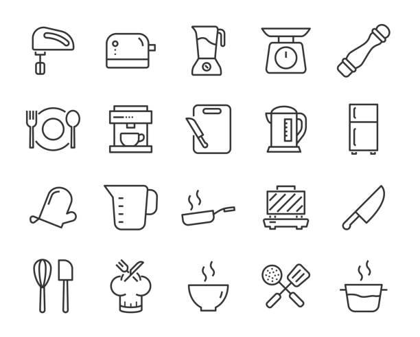 satz von küchenwerkzeugen ikonen, wie messer, teller, ofen, pfanne, gabel, schüssel, mixer - küchenmixer stock-grafiken, -clipart, -cartoons und -symbole