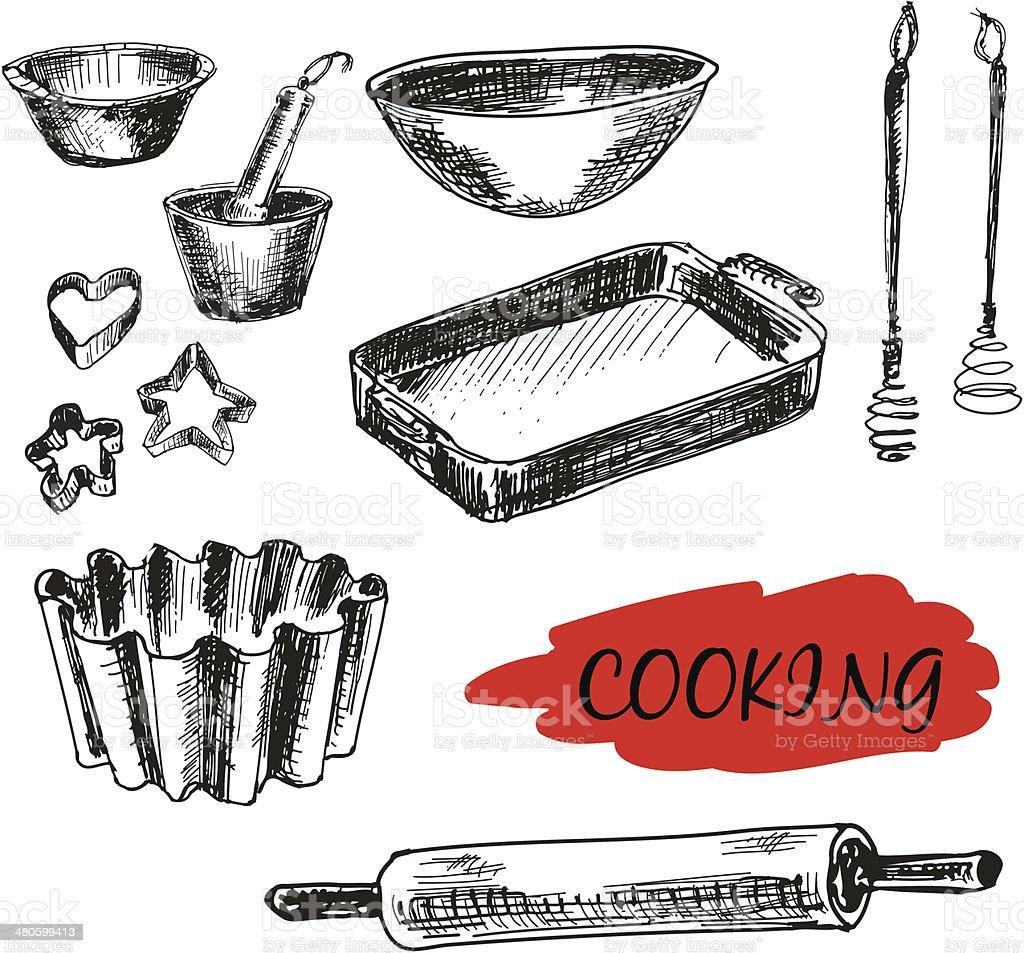 Set of kitchen utensils. All baking royalty-free stock vector art