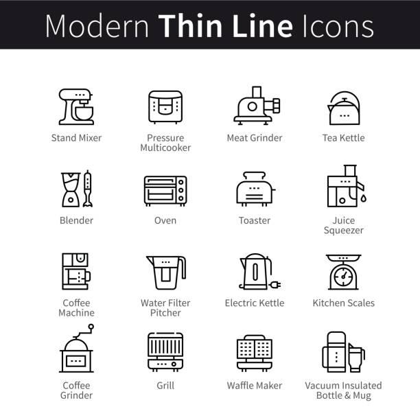 satz von küchenutensilien und geräten - küchenmixer stock-grafiken, -clipart, -cartoons und -symbole