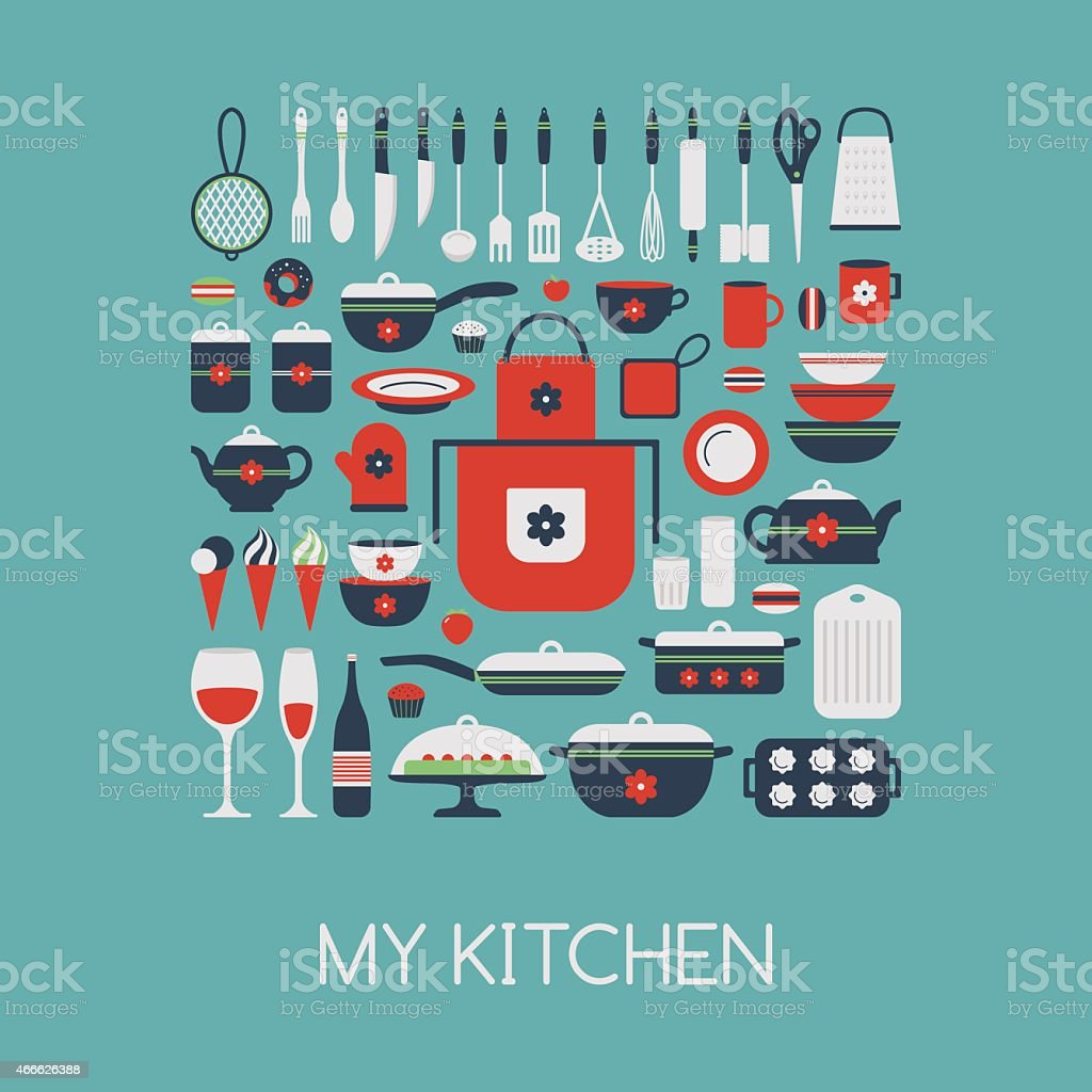Set of kitchen utensils and food. vector art illustration