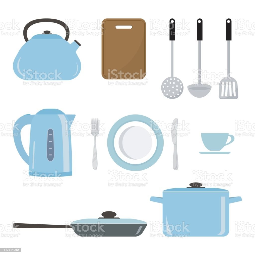 Set Of Kitchen Utensils And Tools In A Blue Color Stock