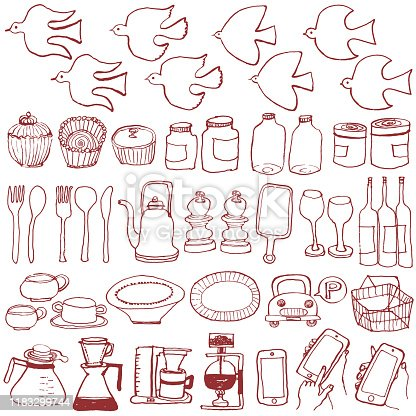 Set of hand drawn interior and general goods.