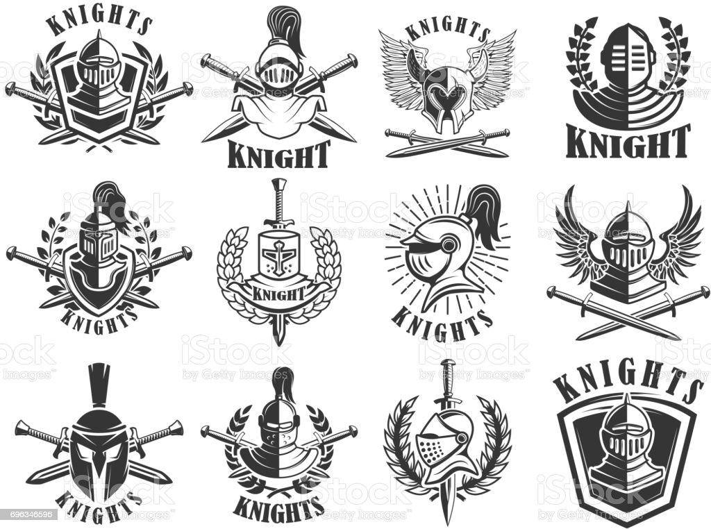 Set of knight emblems. Design elements for label, emblem, sign, badge. Vector illustration royalty-free set of knight emblems design elements for label emblem sign badge vector illustration stock illustration - download image now