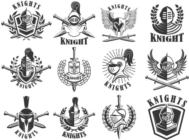 set of knight emblems. design elements for label, emblem, sign, badge. vector illustration - knight in shining armor stock illustrations, clip art, cartoons, & icons