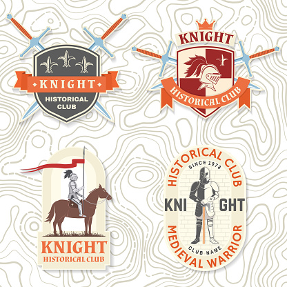 Set of Knight historical club badge, t-shirt design. Vector. Concept for shirt, print, stamp, overlay or template. Vintage typography design with knight with sword and castle silhouette.