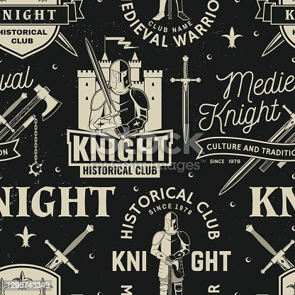 istock Set of knight historical club seamless pattern design Vector Concept for shirt, print, stamp, overlay or template. Typography design with knight, knight on a horse, swords, axe, castle silhouette 1295743349