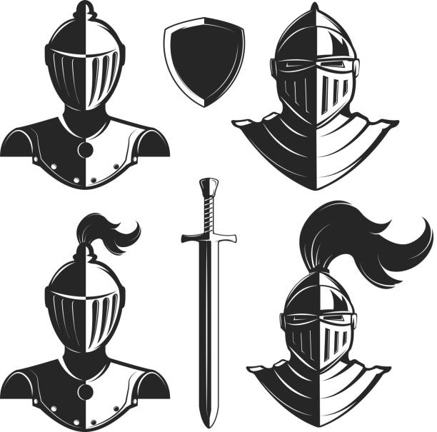 set of knights helmets isolated on white background. - knight in shining armor stock illustrations, clip art, cartoons, & icons