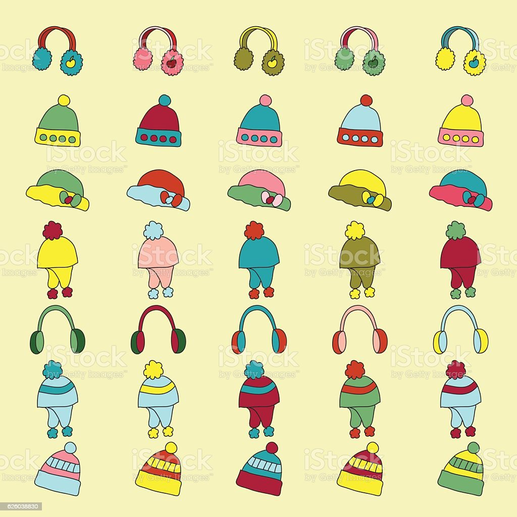 set of knitted winter hat and cap icon vector art illustration