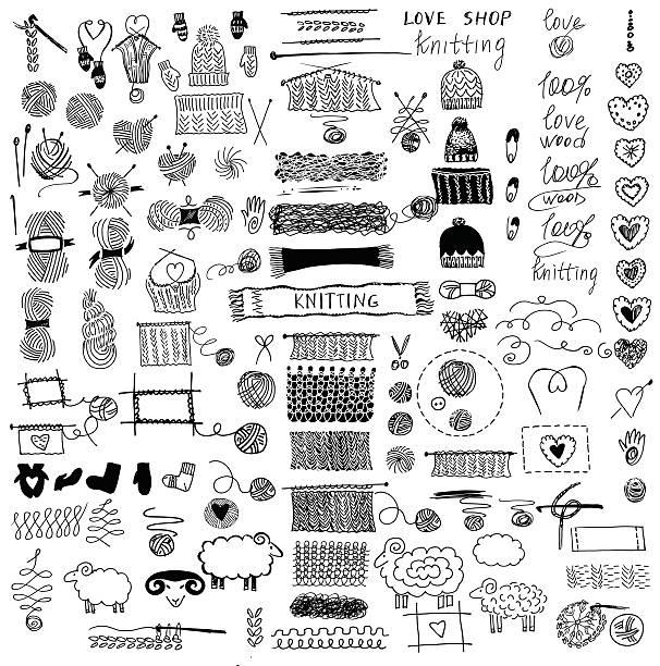 satz von stricken und kunsthandwerk. - hausgemacht stock-grafiken, -clipart, -cartoons und -symbole