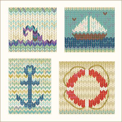 Set of knitting works on the marine theme