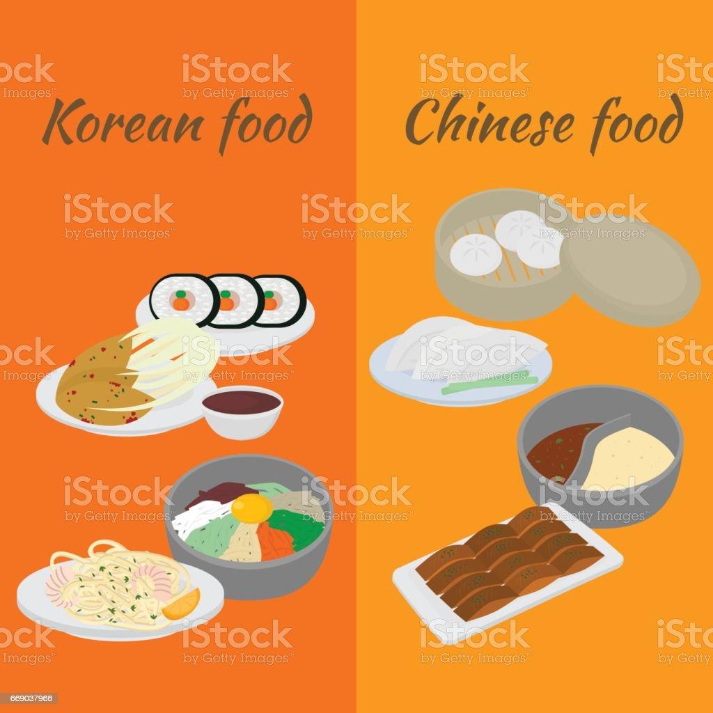 Satz Von Koreanischen Und Chinesischen Küche Flache Designelemente ...