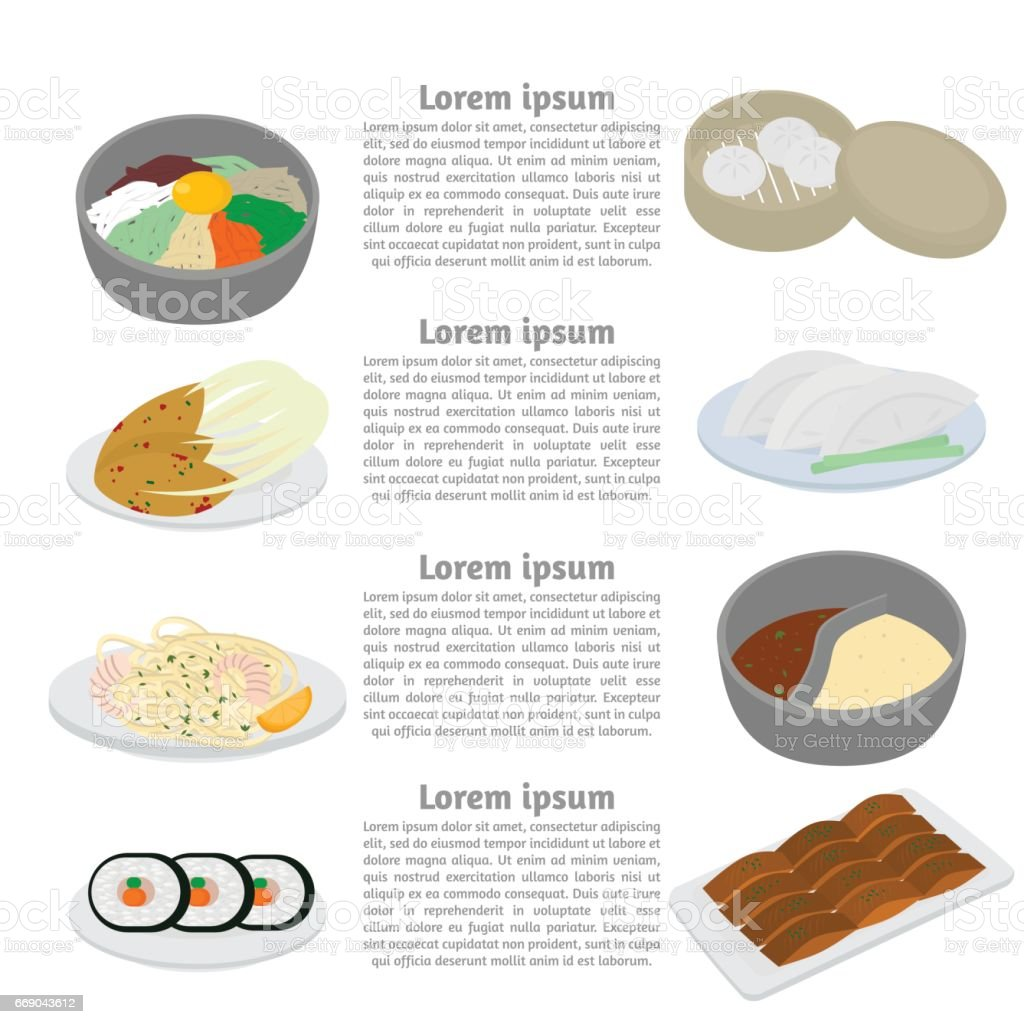 Set Of Korean And Chinese Food Flat Design Elements Asian Street Food Menu Traditional