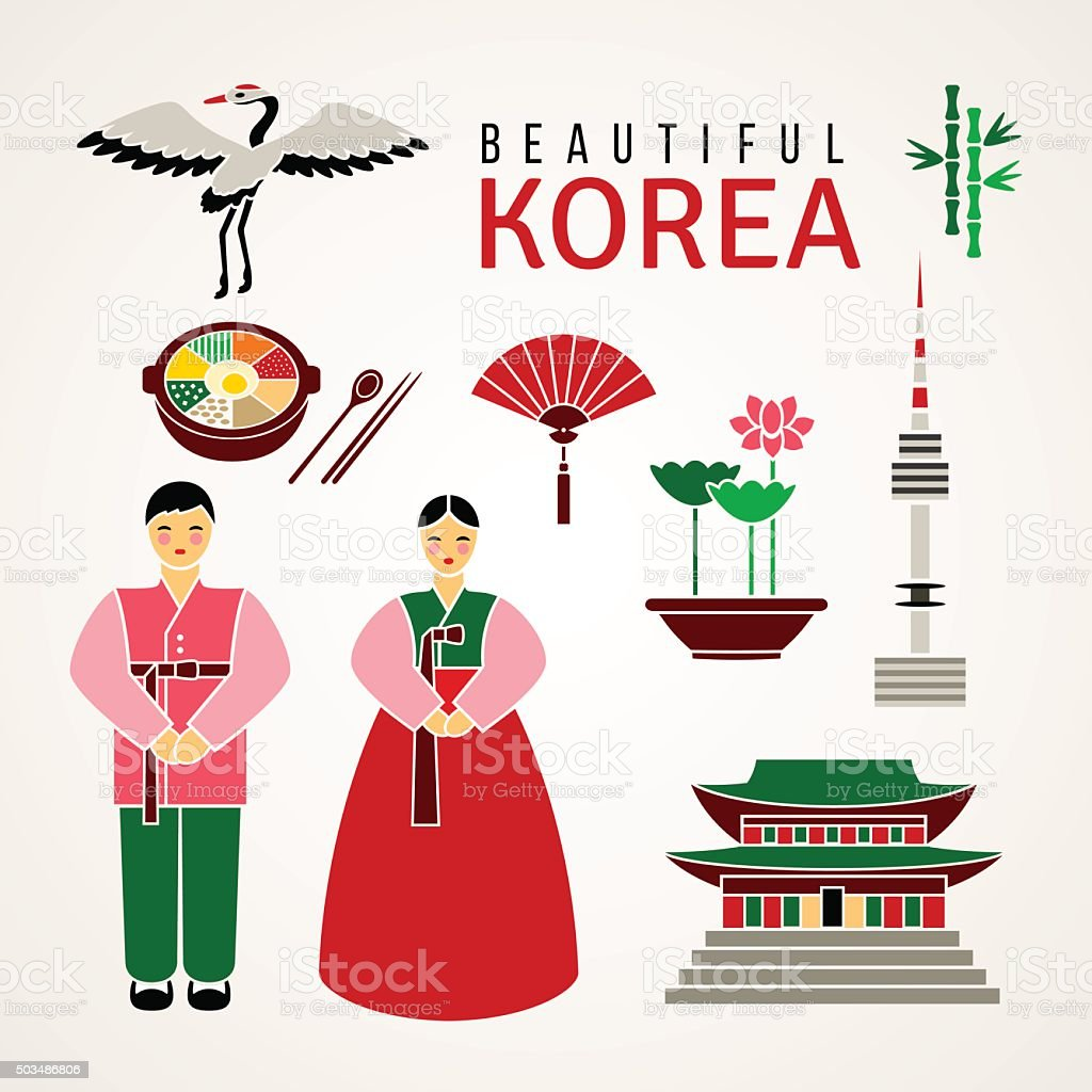 Set Of Korean Cultural Symbols Vector Stock Vector Art More Images