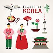 Set of Korean cultural symbols. Vector.