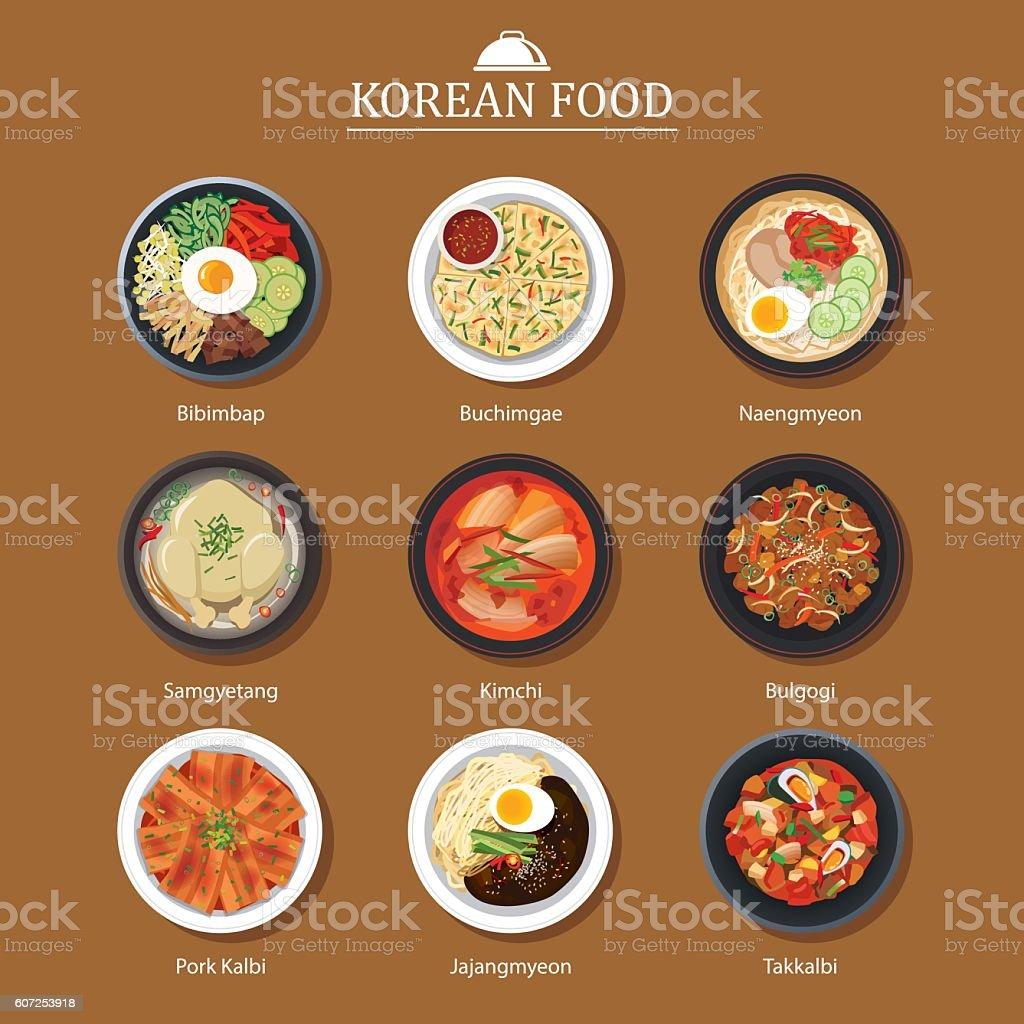 Set of korean food flat design. Asia street food illustration