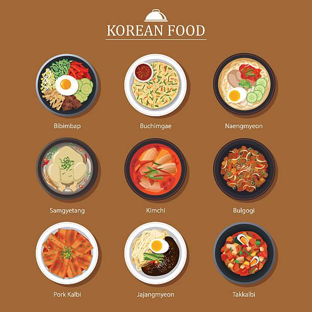 Set of korean food flat design. Asia street food illustration Set of korean food flat design. Asia street food illustration background. kimchee stock illustrations