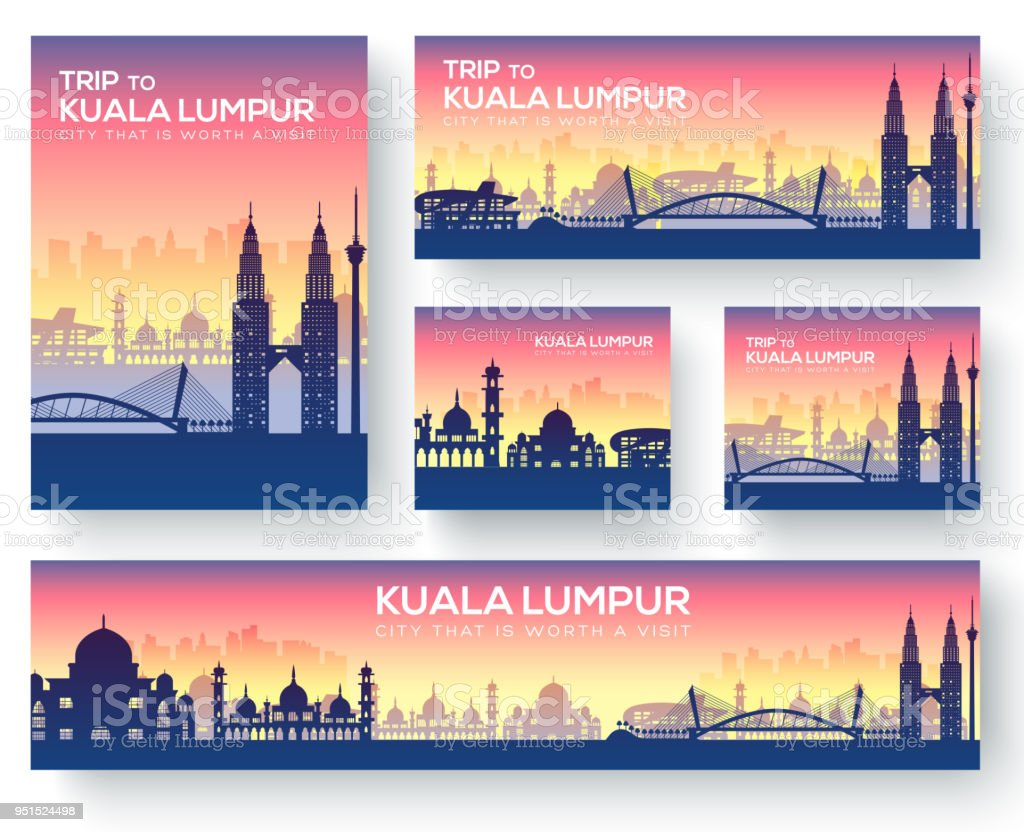 Set of Kuala Lumpur landscape country ornament travel tour concept. Culture traditional, magazine, book, poster, abstract, element. Vector decorative ethnic greeting card or invitation background