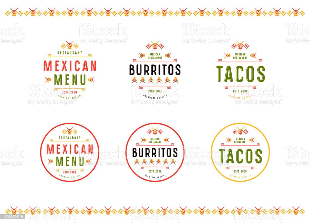 Set of label and badge for mexican restaurant vector art illustration