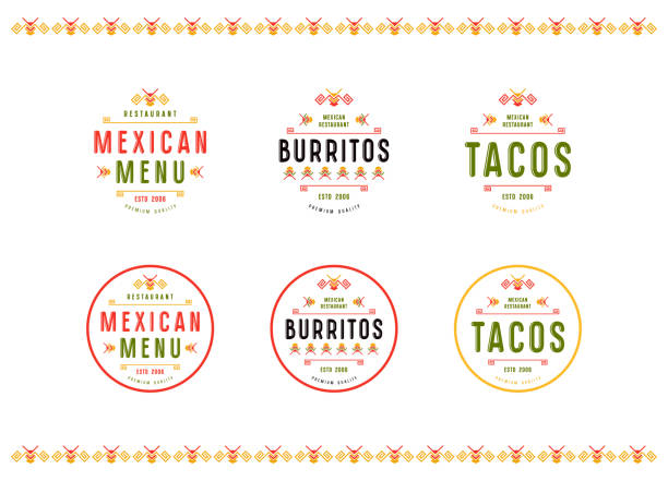 set of label and badge for mexican restaurant - mexican food stock illustrations, clip art, cartoons, & icons