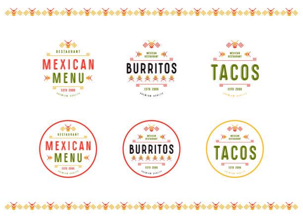 Ensemble d'étiquette et d'un insigne pour restaurant mexicain - Illustration vectorielle