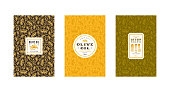 Set of label and seamless pattern for olive oil. Design elements in thin line style