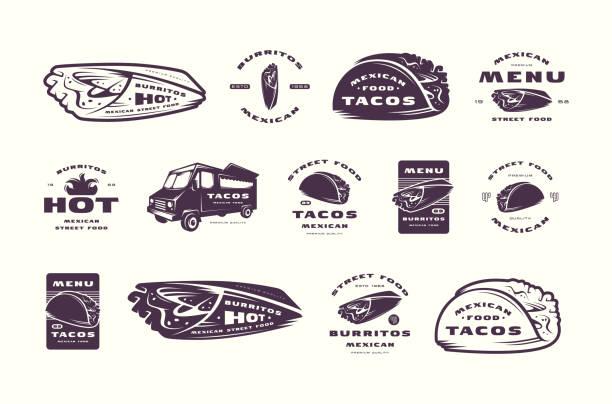 satz von etiketten und aufkleber für mexican restaurant - tortillas stock-grafiken, -clipart, -cartoons und -symbole