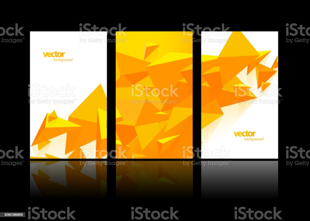 Set Of Label Design Templates With Abstract Polygonal Objects Stock ...