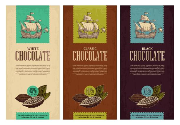 set of label for chocolate with fruits  cocoa beans and sailing ship floating on the sea waves - plant pod stock illustrations