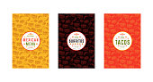 Set of label and seamless pattern for mexican restaurant. Design elements in thin line style