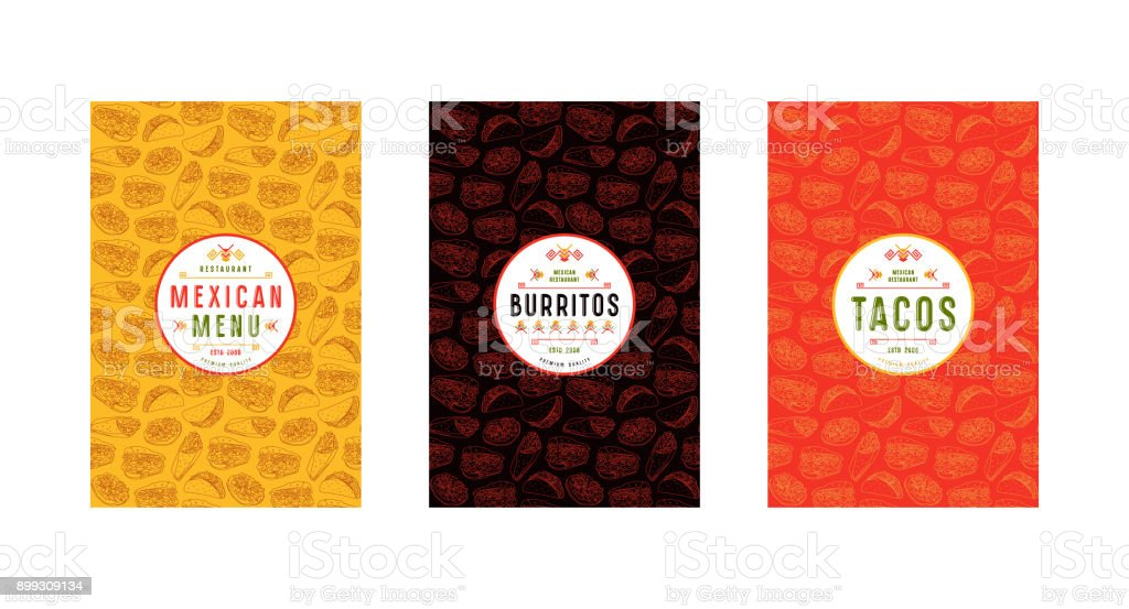 Set of label, logo and seamless pattern for mexican restaurant vector art illustration