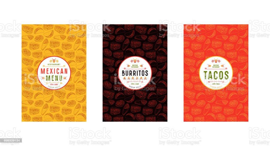 Conjunto de sello, logo y patrones sin fisuras para restaurante mexicano - ilustración de arte vectorial