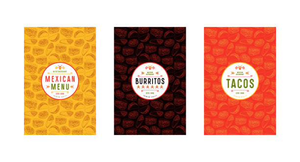 Set of label, logo and seamless pattern for mexican restaurant Set of label and seamless pattern for mexican restaurant. Design elements in thin line style cooking borders stock illustrations