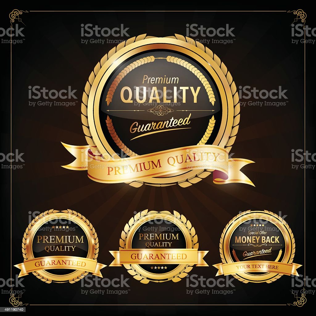 Set of Label with gold elements,Vector EPS10. vector art illustration