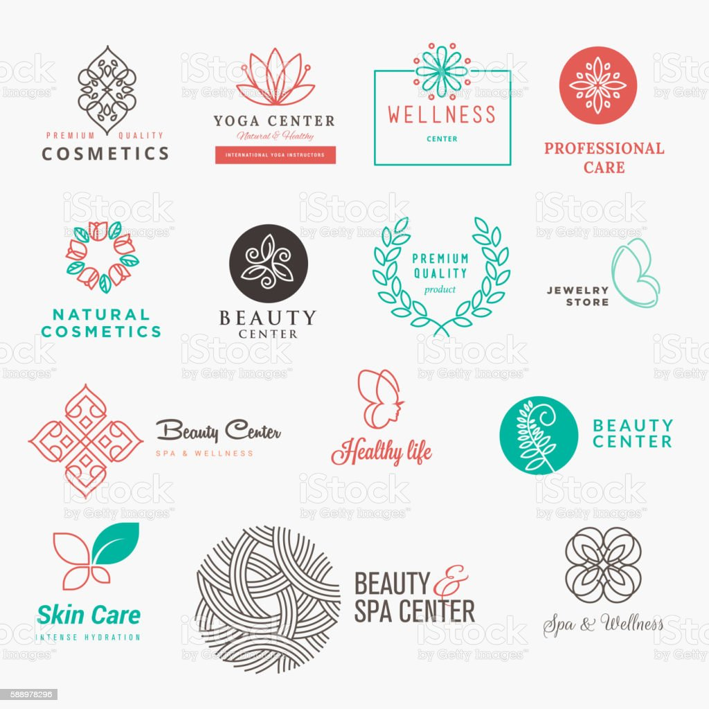 Set of labels and badges for beauty, cosmetics, spa and wellness - illustrazione arte vettoriale
